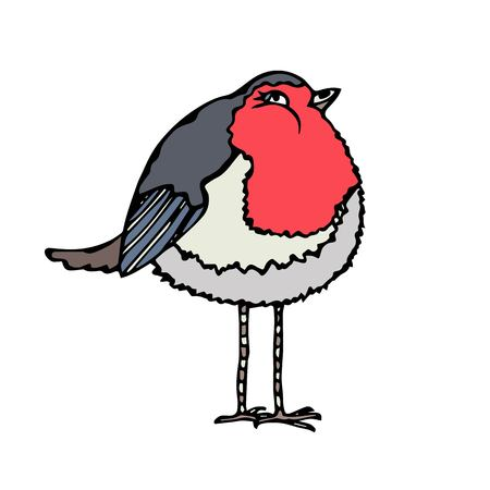 tweet icon: Isolated On a White Background Doodle Cartoon Hand Drawn Sketch Vector. Cute Adorable Red Robin Bird.