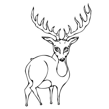 Isolated On a White Background Doodle Cartoon Hand Drawn Sketch Vector. Cute Deer Reindeer Caribou Cartoon Caracter. Illustration