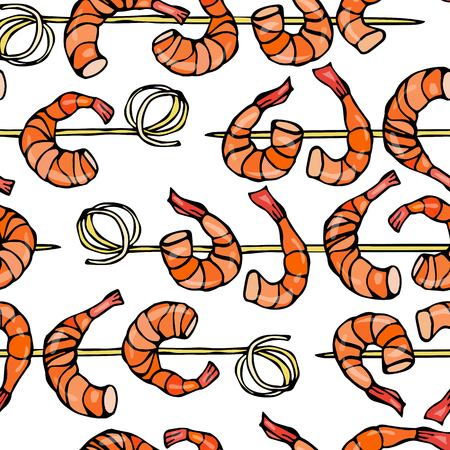 Seamless Shrimp on Wood Stick, Prawn Kebab, Seafood BBQ, Canapes. Isolated On a White Background Doodle Cartoon Vintage Hand Drawn Sketch