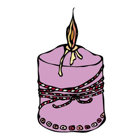 Ink Vector Illustration Isolated On a White Background Doodle Cartoon Vintage Hand Drawn Sketch. Fat Burning Candle with Ribbon Illustration