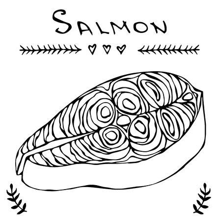 Steak Of Red Fish Salmon For Sushi Food Menu Vector Illustration