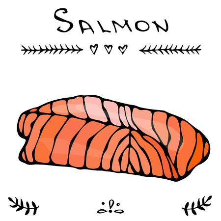 slit: Steak of red fish salmon for sushi food menu vector illustration Isolated white background.