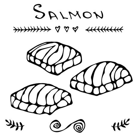 ready cooked: Steak of red fish salmon for sushi food menu vector illustration Isolated white background.