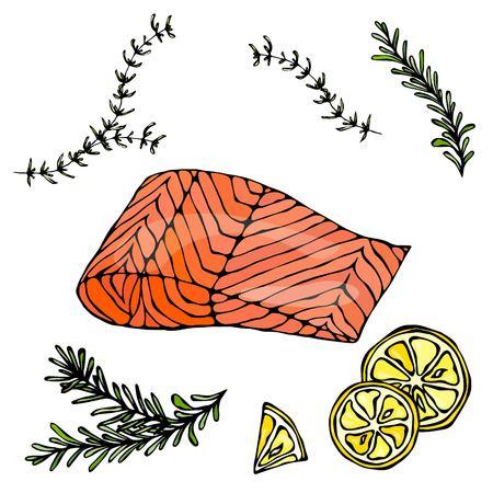 Bifteck de poisson rouge saumon pour sushi nourriture menu illustration vectorielle Fond blanc isolé.