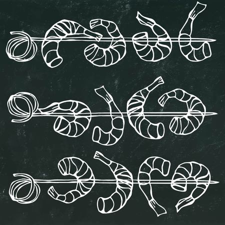 Isolated On a Chalkboard Background Doodle Cartoon Vintage Hand Drawn Sketch . Shrimp on Wood Stick, Prawn Kebab, Seafood BBQ, Canapes