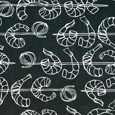 Isolated On Chalkboard Background Doodle Cartoon Vintage Hand Drawn Sketch . Seamless Shrimp on Wood Stick, Prawn Kebab, Seafood BBQ, Canapes
