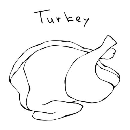 Raw Turkey Full Carcass. Fresh Fowl Meat. Realistic Vector Illustration Isolated Hand Drawn Doodle or Cartoon Style Sketch.