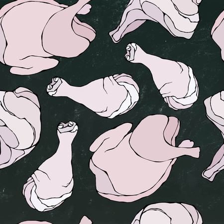 Seamless with Raw Chicken or Turkey. Fresh Meat Food Pattern. Isolated on a Black Chalkboard Background. Realistic Doodle Cartoon Style Hand Drawn Sketch Vector Illustration.