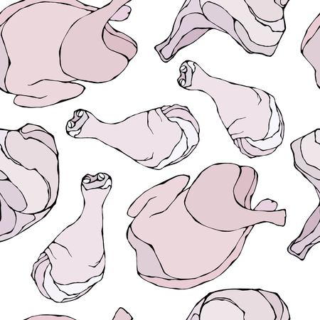 Seamless with Raw Chicken or Turkey. Fresh Meat Food Pattern. Isolated On a White Background. Realistic Doodle Cartoon Style Hand Drawn Sketch Vector Illustration. Ilustração Vetorial