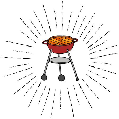 BBQ Grill in Sun Rays for Summer Party Menu. Realistic Doodle Cartoon Style Hand Drawn Sketch Vector Illustration. Isolated On a White Background. Illustration