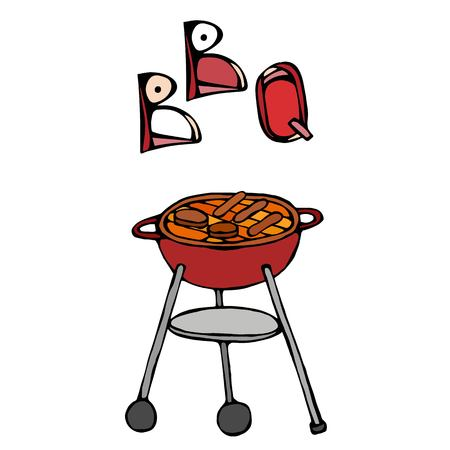 BBQ Grill and Lettering. Summer Party Equipment. Realistic Doodle Cartoon Style Hand Drawn Sketch Vector Illustration. Isolated On a White Background. Stock Photo