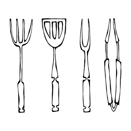 Baking Equipment or Barbeque Tools. Tongs for BBQ, Fork and Spatula. Realistic Doodle Cartoon Style Hand Drawn Sketch Vector Illustration. Isolated On a White Background.