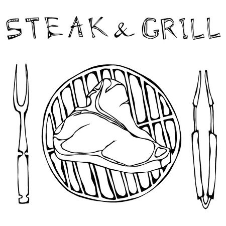 strip a cow: T-Bone Steak on the Grill for Barbecue, Tongs and Fork. Lettering Steak and Grill. Isolated On a White Background. Realistic Doodle Cartoon Style Hand Drawn Sketch Vector Illustration.