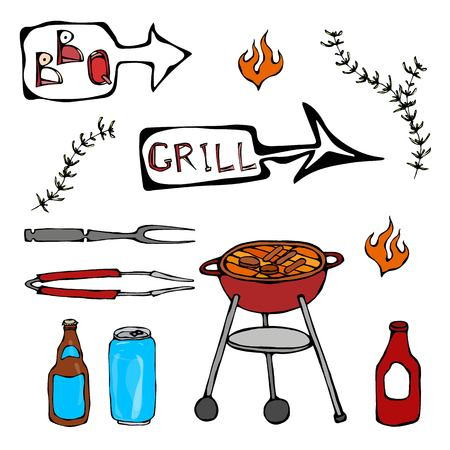 Set of Barbecue Tools: BBQ Fork, Tongs, Grill with Meat, Fire, Beer Bottle, Can, Ketchup, Herbs. Realistic Doodle Cartoon Style Hand Drawn Sketch Vector Illustration.Isolated On a White Background. Illustration