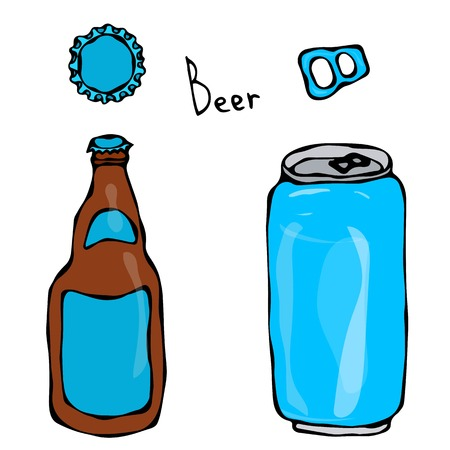 Beer Bottle, Can, Cap and Key. Isolated On a White Background. Realistic Doodle Cartoon Style Hand Drawn Sketch Vector Illustration. Isolated On a White Background.