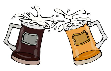 Two Beer Mugs With Light and Dark Beer. Clink with Splash. Realistic Doodle Cartoon Style Hand Drawn Sketch Vector Illustration.Isolated On a White Background.