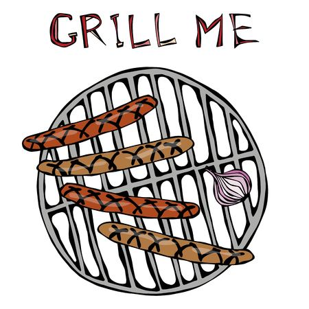 Sausages and Onion on The BBQ Grill. Lettering Grill Me. Barbecue Logo. Realistic Doodle Cartoon Style Hand Drawn Sketch Vector Illustration.Isolated On a White Background.