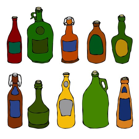 Set of Vintage Beer and Vine Bottles. Realistic Doodle Cartoon Style Hand Drawn Sketch Vector Illustration.Isolated On a White Background.