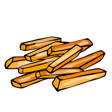 French Fries Potato. Fast Food. Isolated On a White Background. Realistic Doodle Cartoon Style Hand Drawn Sketch Vector Illustration.