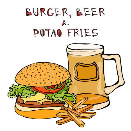 Big Hamburger or Cheeseburger, Beer Mug or Pint and Fried Potato. Burger Lettering. Realistic Doodle Cartoon Style Hand Drawn Sketch Vector Illustration.Isolated On a White Background. Illustration