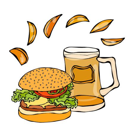 Big Hamburger or Cheeseburger, Beer Mug or Pint and Potato Wedges. Burger Logo. Realistic Doodle Cartoon Style Hand Drawn Sketch Vector Illustration.Isolated On a White Background. Illustration