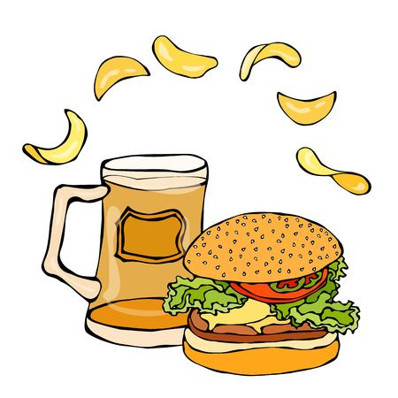 Big Hamburger or Cheeseburger, Beer Mug or Pint and Potato Chips. Burger Logo. Realistic Doodle Cartoon Style Hand Drawn Sketch Vector Illustration.Isolated On a White Background. Illustration