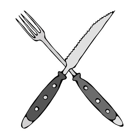 Crossed Fork over Steak Knife. Food Icon. Isolated On a White Background. Realistic Doodle Cartoon Style Hand Drawn Sketch Vector Illustration.