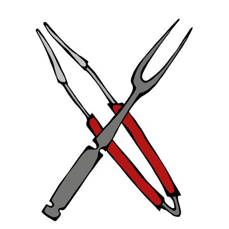 Barbecue Grill Tools Crossed Fork and Tongs. Realistic Doodle Cartoon Style Hand Drawn Sketch Vector Illustration.Isolated On a White Background.