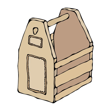 contain: Decorative Light Wooden Box With Holes and Handle. Fruit Drawer. Crate for Food, Tools, Beer or Toys. Realistic Vector Illustration Isolated Hand Drawn Doodle or Cartoon Style Sketch.