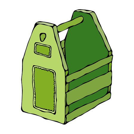 contain: Decorative Green Wooden Box With Holes and Handle. Fruit Drawer. Crate for Food, Tools, Beer or Toys. Realistic Vector Illustration Isolated Hand Drawn Doodle or Cartoon Style Sketch. Illustration