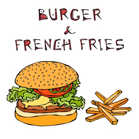 Big Hamburger or Cheeseburger with Fried Potato or French Fries. Burger Lettering. Isolated On a White Background. Realistic Doodle Cartoon Style Hand Drawn Sketch Vector Illustration.