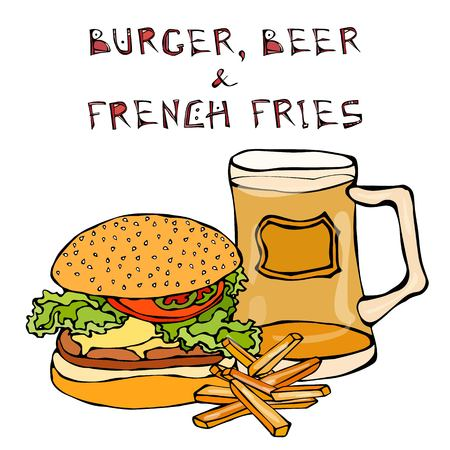 Big Hamburger or Cheeseburger, Beer Mug or Pint, Fried Potato or French Fries. Burger Lettering. Isolated On a White Background. Realistic Doodle Cartoon Style Hand Drawn Sketch Vector Illustration.