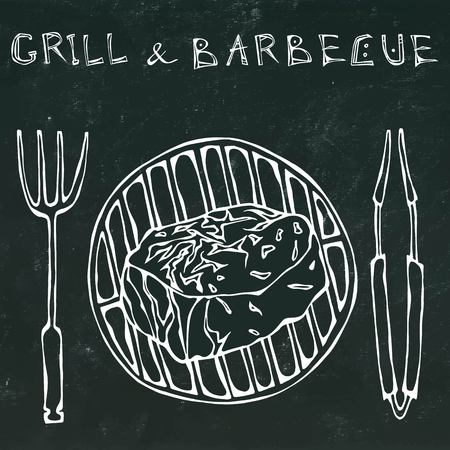 strip a cow: Filet Mignon Steak on the Grill for BBQ, Tongs and Fork. Lettering Grill and Barbecue. Realistic Doodle Cartoon Style Hand Drawn Sketch Vector Illustration. Isolated on a Black Chalkboard Background.