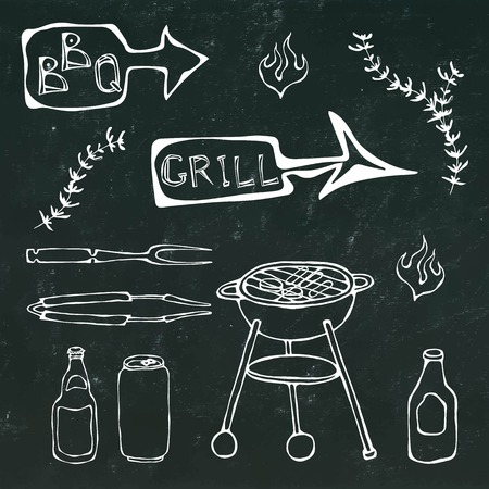 Barbecue Tools: BBQ Fork, Tongs, Grill with Meat, Fire, Beer Bottle, Can, Ketchup, Herbs. Isolated on a Black Chalkboard Background. Realistic Doodle Cartoon Hand Drawn Sketch Vector Illustration.