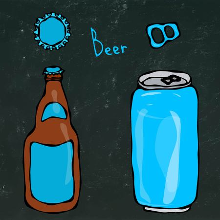 Beer Bottle, Can, Cap and Key. Isolated on a Black Chalkboard Background. Realistic Doodle Cartoon Style Hand Drawn Sketch Vector Illustration. Illustration