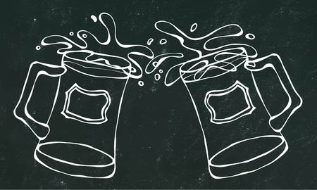 bottled: Two Beer Mugs With Light Ale or Lager. Clink with Splash. Isolated on a Black Chalkboard Background. Realistic Doodle Cartoon Style Hand Drawn Sketch Vector Illustration. Illustration