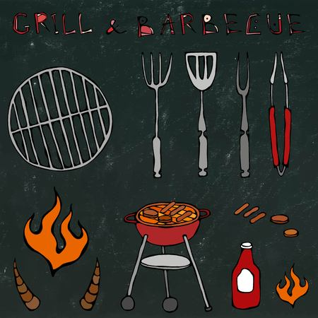 Set of Barbecue Tools: BBQ Fork, Tongs, Grill with Meat, Fire, Ketchup, Bull Horns. Isolated on a Black Chalkboard Background. Realistic Doodle Cartoon Style Hand Drawn Sketch Vector Illustration. Illustration