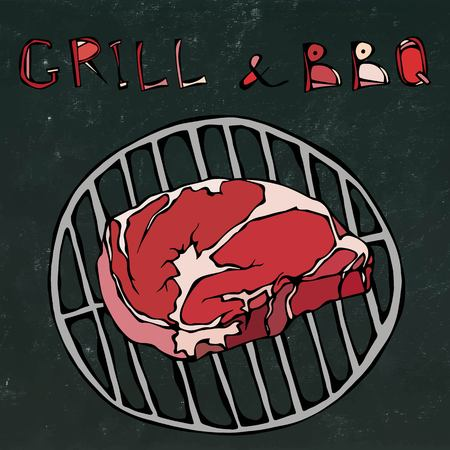Rib Eye Steak on the Grill for Barbecue. Lettering Grill and BBQ. Realistic Doodle Cartoon Style Hand Drawn Sketch Vector Illustration. Isolated on a Black Chalkboard Background.