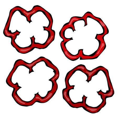 Slices of Red Paprika, Bell Pepper or Sweet Bulgarian Pepper. Isolated On a White Background. Realistic and Doodle Style Hand Drawn Sketch Vector Illustration.