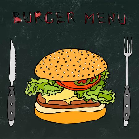 sandwich board: Big Hamburger or Cheeseburger. Burger Menu Lettering, Knife and Fork. Isolated on a Black Chalkboard Background. Realistic Doodle Cartoon Style Hand Drawn Sketch Vector Illustration.