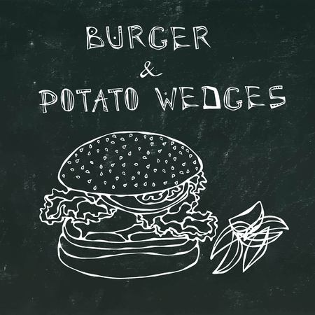 Big Hamburger or Cheeseburger with Potato Wedges. Burger Lettering. Isolated on a Black Chalkboard Background. Realistic Doodle Cartoon Style Hand Drawn Sketch Vector Illustration. Illustration