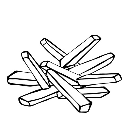 foodstuffs: French Fries Potato. Fast Food. Realistic Doodle Cartoon Style Hand Drawn Sketch Vector Illustration.Isolated On a White Background. Illustration