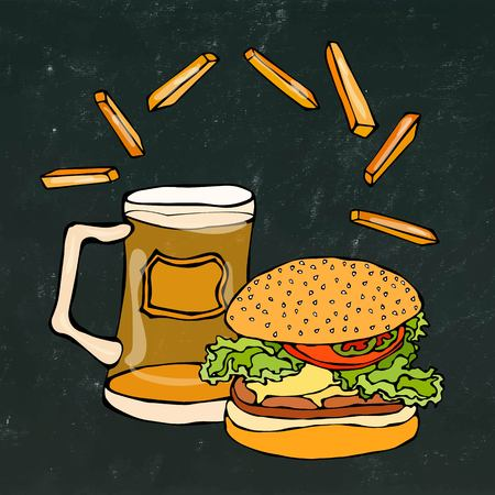 sandwich board: Big Hamburger or Cheeseburger, Beer Mug or Pint and Fried Potato. Burger Logo. Isolated on a Black Chalkboard Background.Realistic Doodle Cartoon Style Hand Drawn Sketch Vector Illustration.