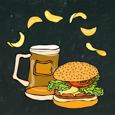 sandwich board: Big Hamburger or Cheeseburger, Beer Mug or Pint and Potato Chips. Burger Logo. Isolated On a White Background. Realistic Doodle Cartoon Style Hand Drawn Sketch Vector Illustration.