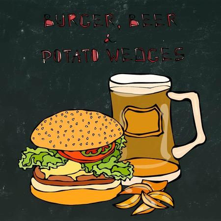 sandwich board: Big Hamburger or Cheeseburger, Beer Mug or Pint and Fried Potato. Burger Lettering. Isolated on a Black Chalkboard Background. Realistic Doodle Cartoon Style Hand Drawn Sketch Vector Illustration.