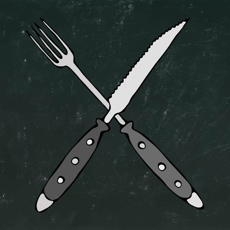 Crossed Fork over Steak Knife. Food Icon. Realistic Doodle Cartoon Style Hand Drawn Sketch Vector Illustration. Isolated on a Black Chalkboard Background.
