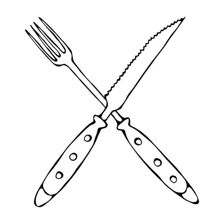 dinning: Crossed Fork over Steak Knife. Food Icon. Realistic Doodle Cartoon Style Hand Drawn Sketch Vector Illustration.Isolated On a White Background. Stock Photo