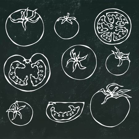 assortment: Set of Fresh Red Tomatoes. Half of Tomato, Slice of Tomato, Cherry Tomato. Isolated on a Black Chalkboard Background. Realistic Doodle Cartoon Style Hand Drawn Sketch Vector Illustration.