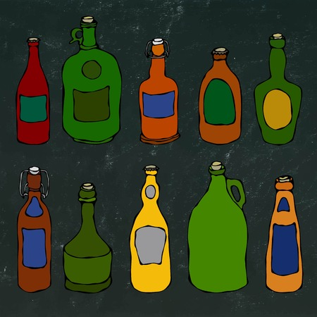 Set of Vintage Beer and Vine Bottles. Isolated On a White Background. Realistic Doodle Cartoon Style Hand Drawn Sketch Vector Illustration. Illustration