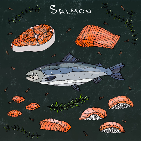 ready cooked: Steak, Filet, Slices and Sushi of Red Fish Salmon for Seafood Menu